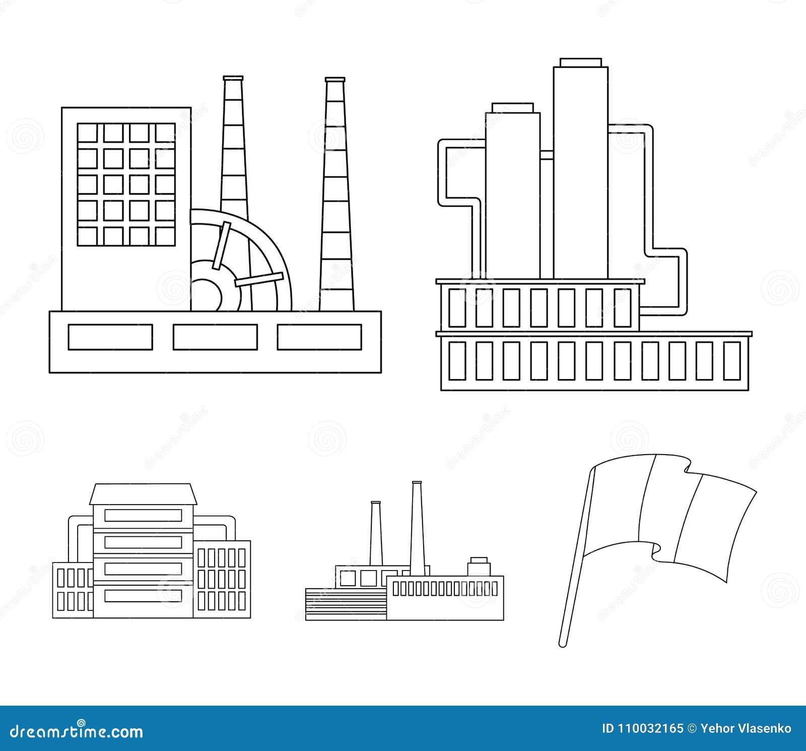 Industrie, productie Pictogrammen van de fabrieks de vastgestelde inzameling in van de het symboolvoorraad van de overzichtsstijl