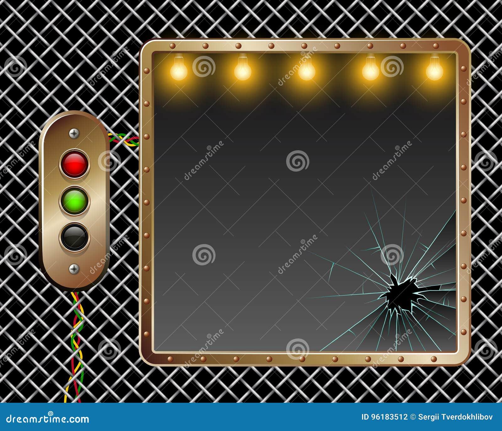 Industriell bakgrund som bakgrund kan inramning metallbruk Mässingsknappar med belysning broken exponeringsglas Belysning vid lam