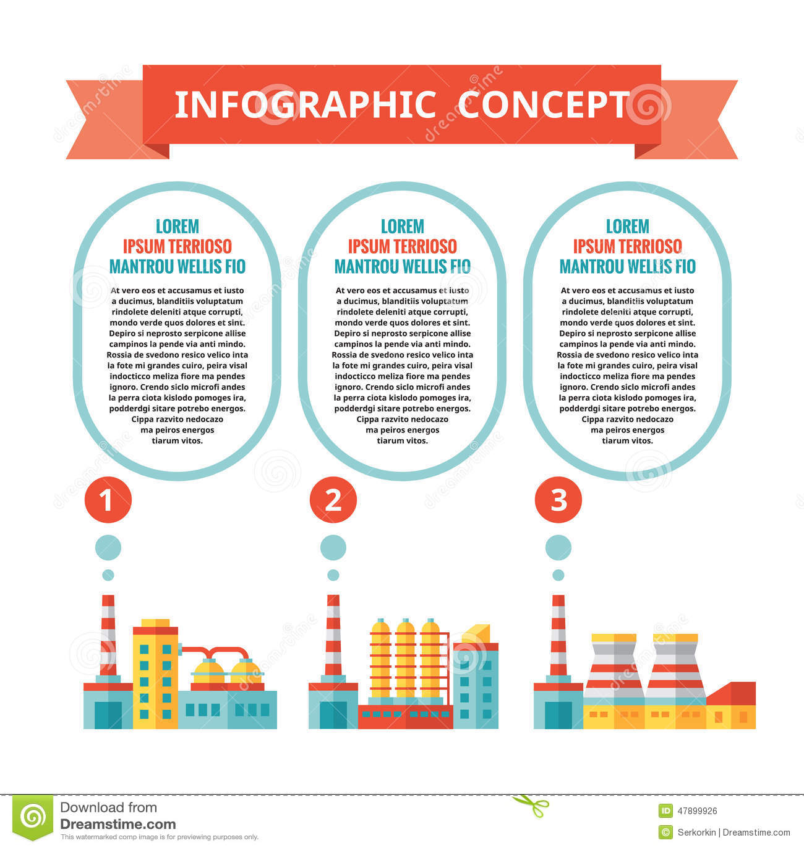 Industriell fabrik - infographic affärsidé i plan designstil