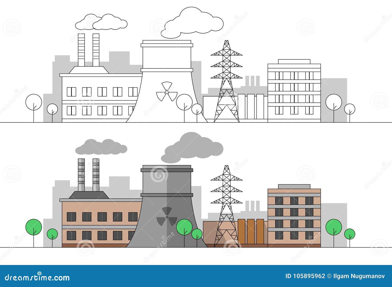 Industriell fabrik med den kärn- stationen och kraftledningen Plan och linjär illustration för vektor färga målning redigerbart l