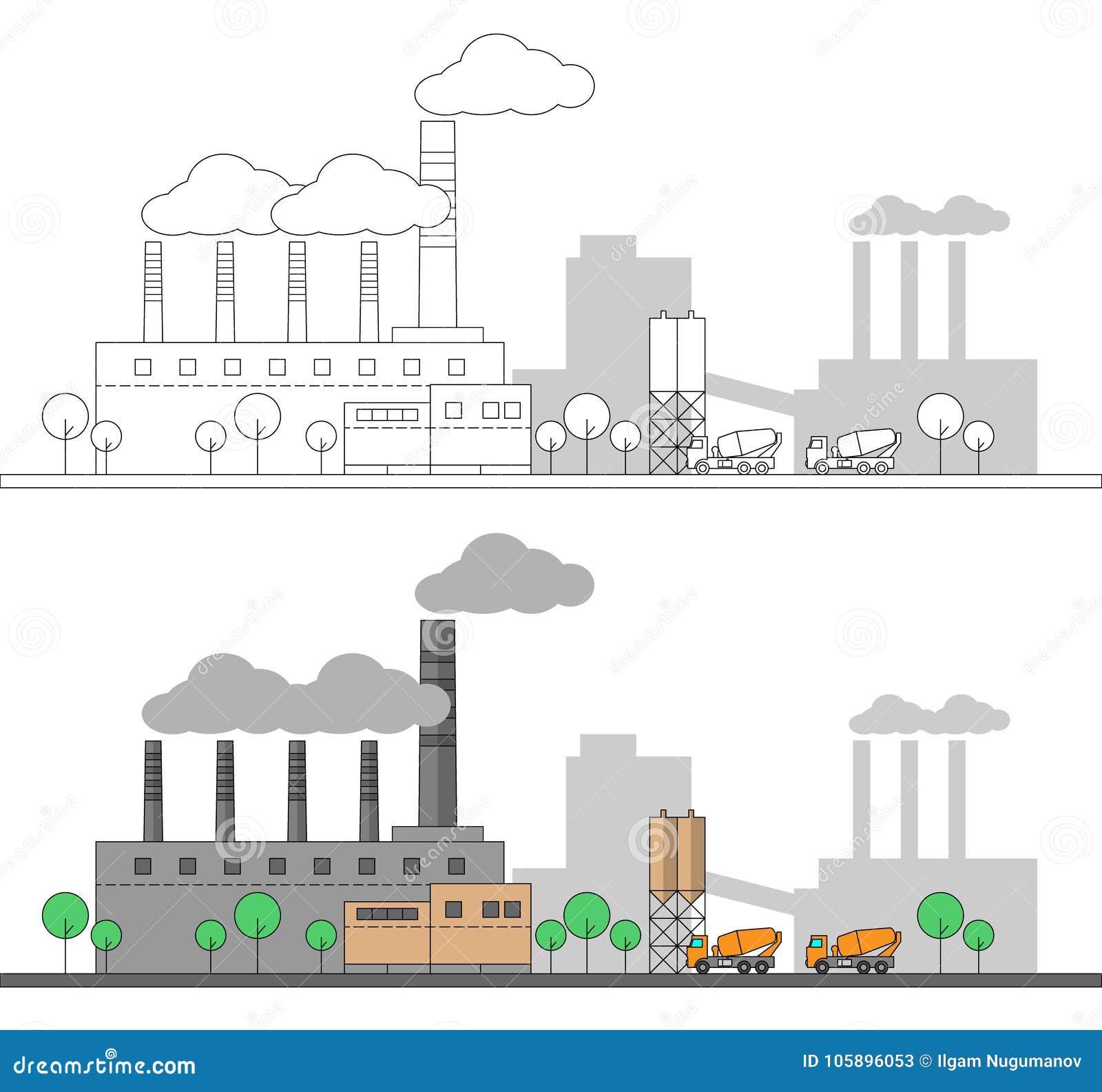 Industriell konkret fabrik och två lastbilar Plan och linjär illustration för vektor färga målning redigerbart Landskap Leda i rö
