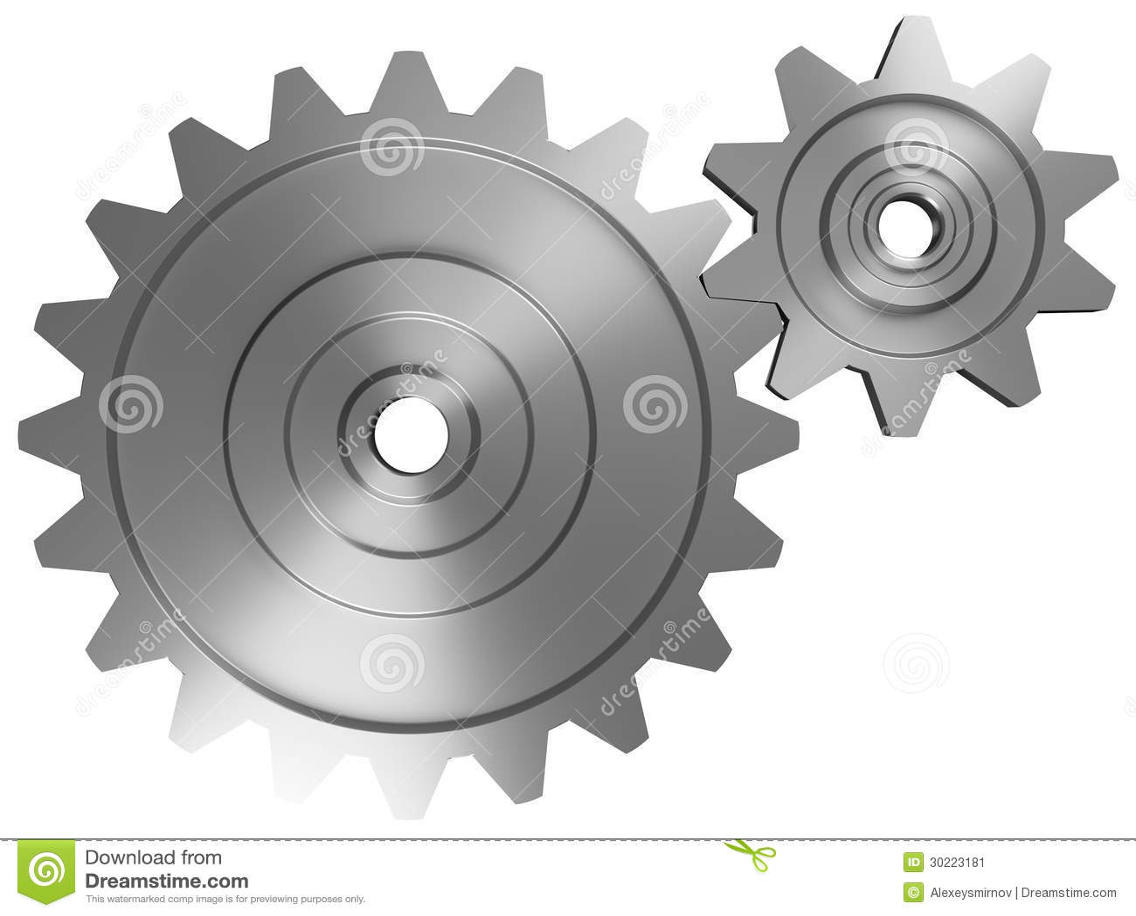 Två interlocking cogwheels beklär på beskådar