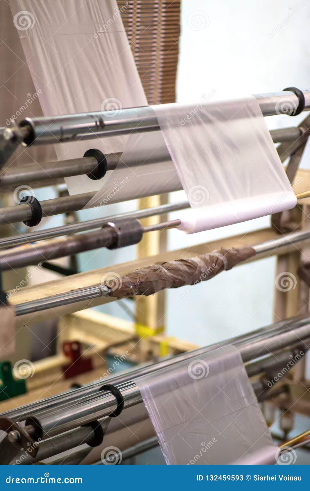 Industriell produktion av plastpåsar Utrustning för tillverkning av