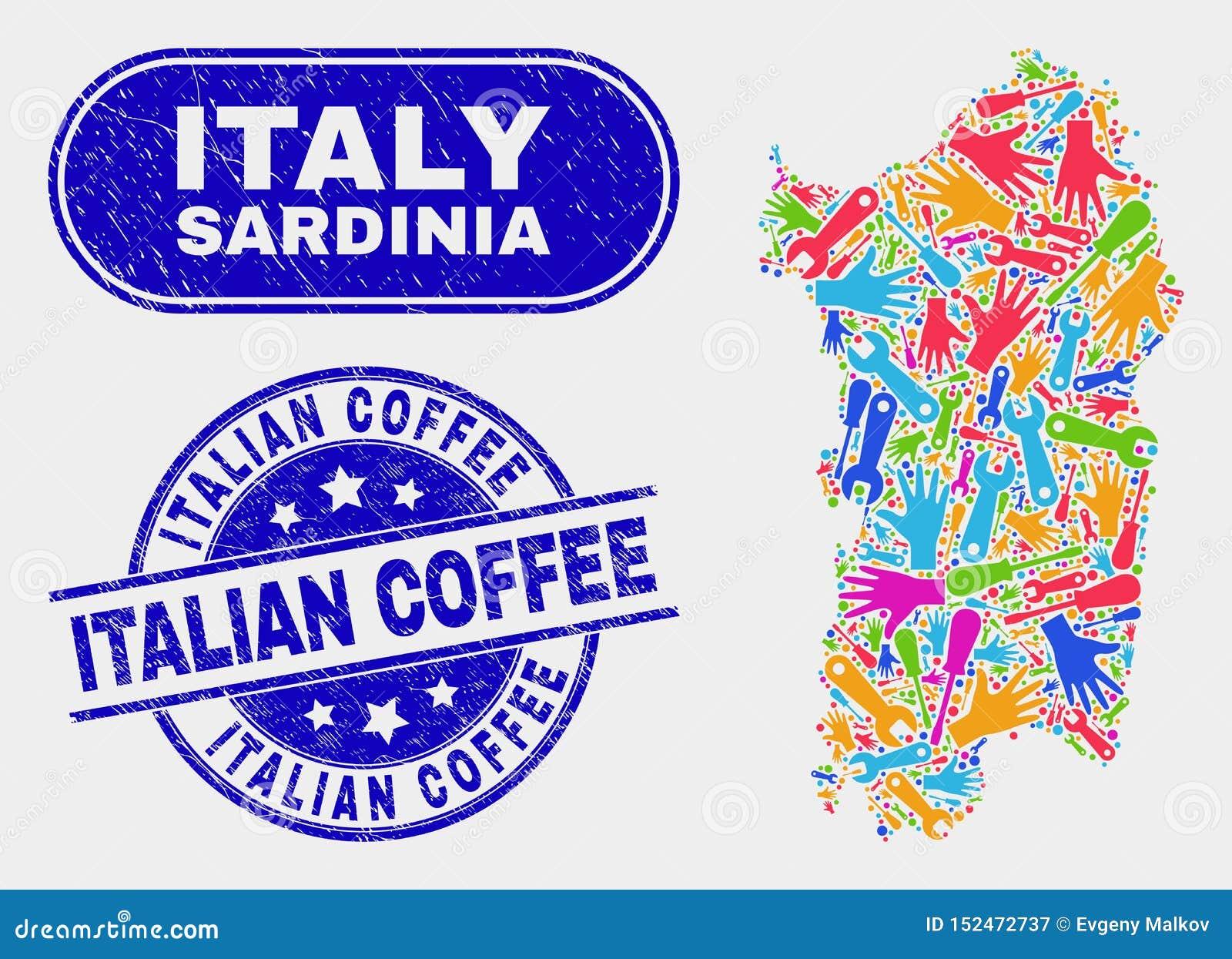 Industriell Sardinia översikt och att bedröva italienska kaffestämpelskyddsremsor