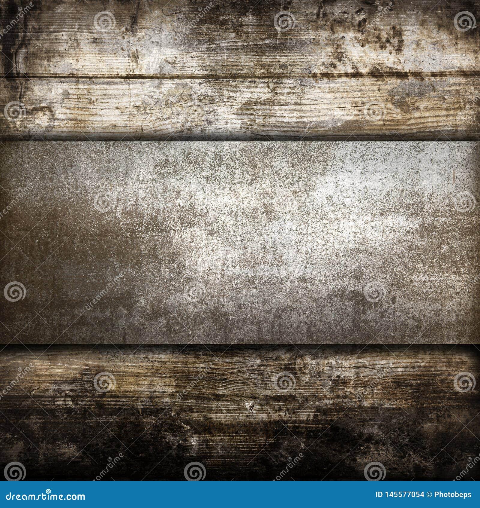 Industrielle Metallplatte auf einem h?lzernen Hintergrund