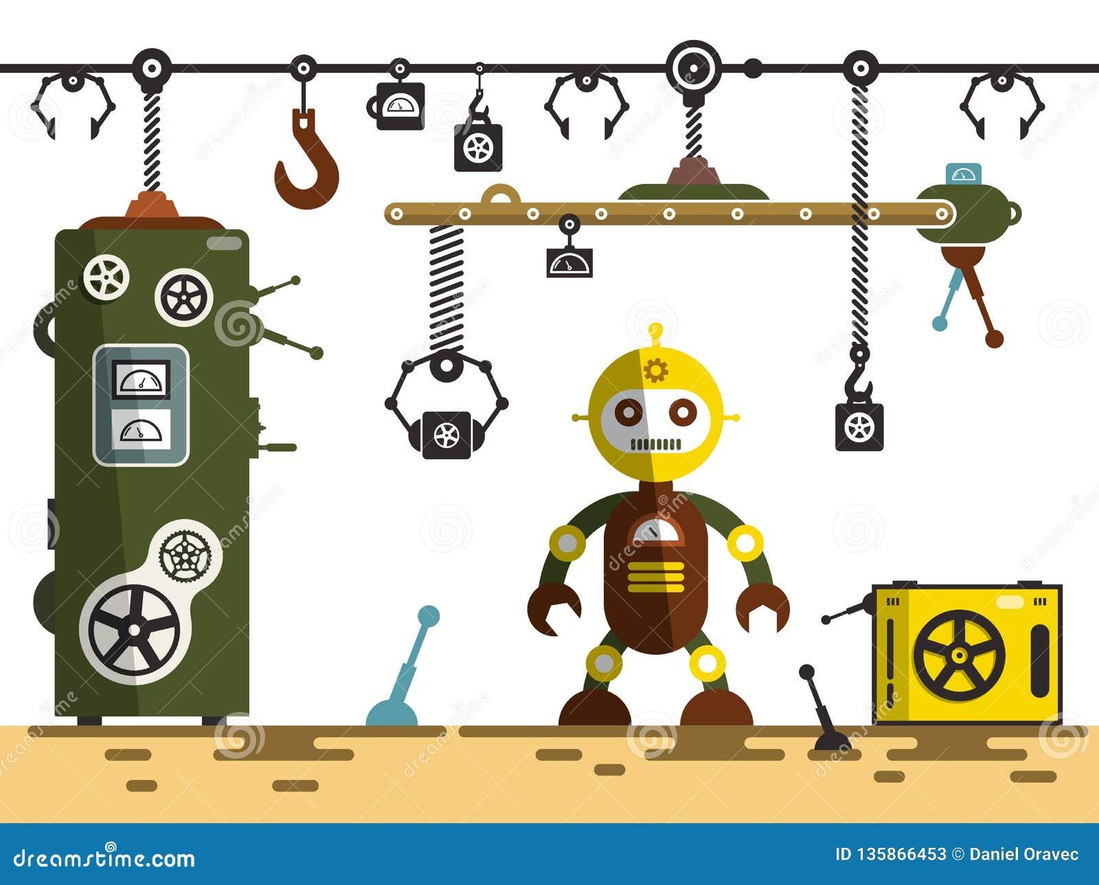 Industrielle Plattform mit der Transportmaschinerie benutzt, um verschiedene Stücke zu tragen Roboter mit Maschinen