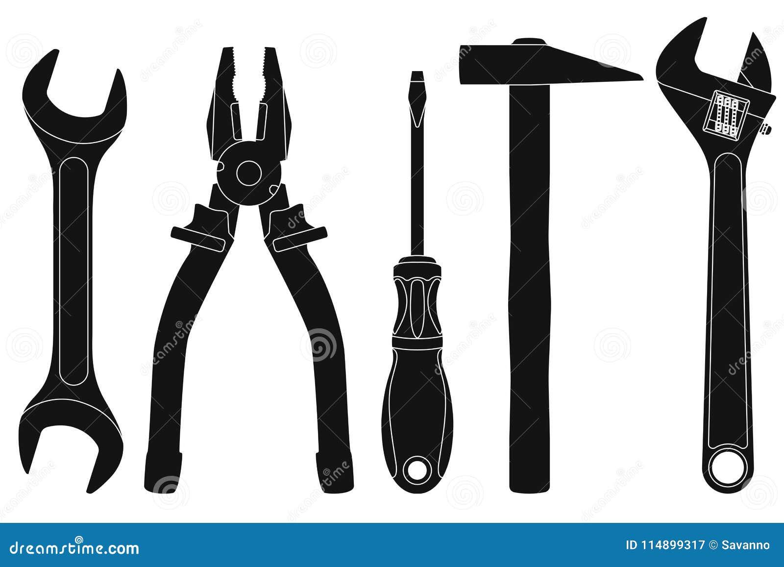 Industrielle Werkzeugausrüstung - Schlüssel, Zangen, Schraubenzieher, Hammer, justierbarer Schlüssel Schwarze Schattenbilder