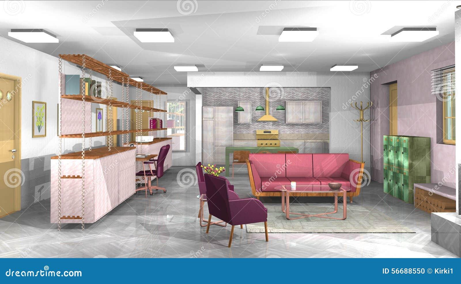 industrielles rustikales modernes wohnzimmer mit b ro und offene k che stockfoto bild von. Black Bedroom Furniture Sets. Home Design Ideas