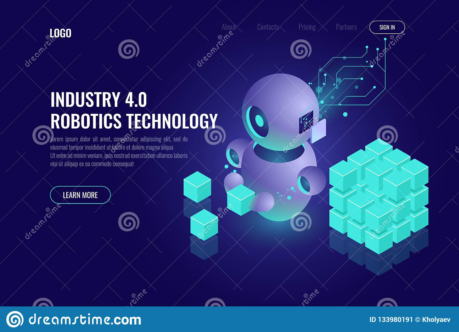 Industry 4 0 Concept, Big Data Isometric Robotics Technology