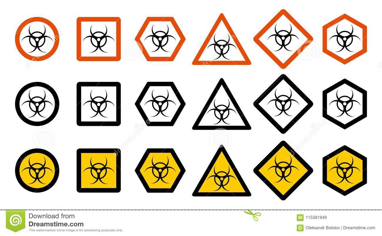 Industry Concept Set Of Different Toxic Hazard Signs For Your Web