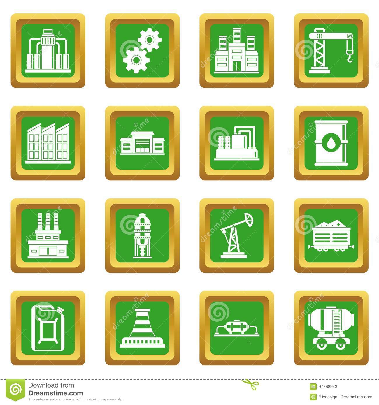Industry icons set green stock vector. Illustration of ...