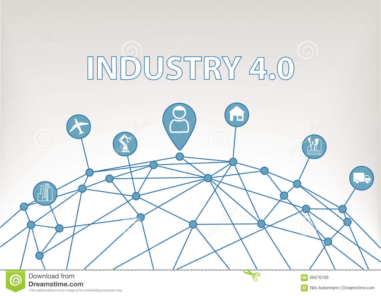 Industry 4.0 illustration background with world grid and consumer connected to devices like industrial plants, robots