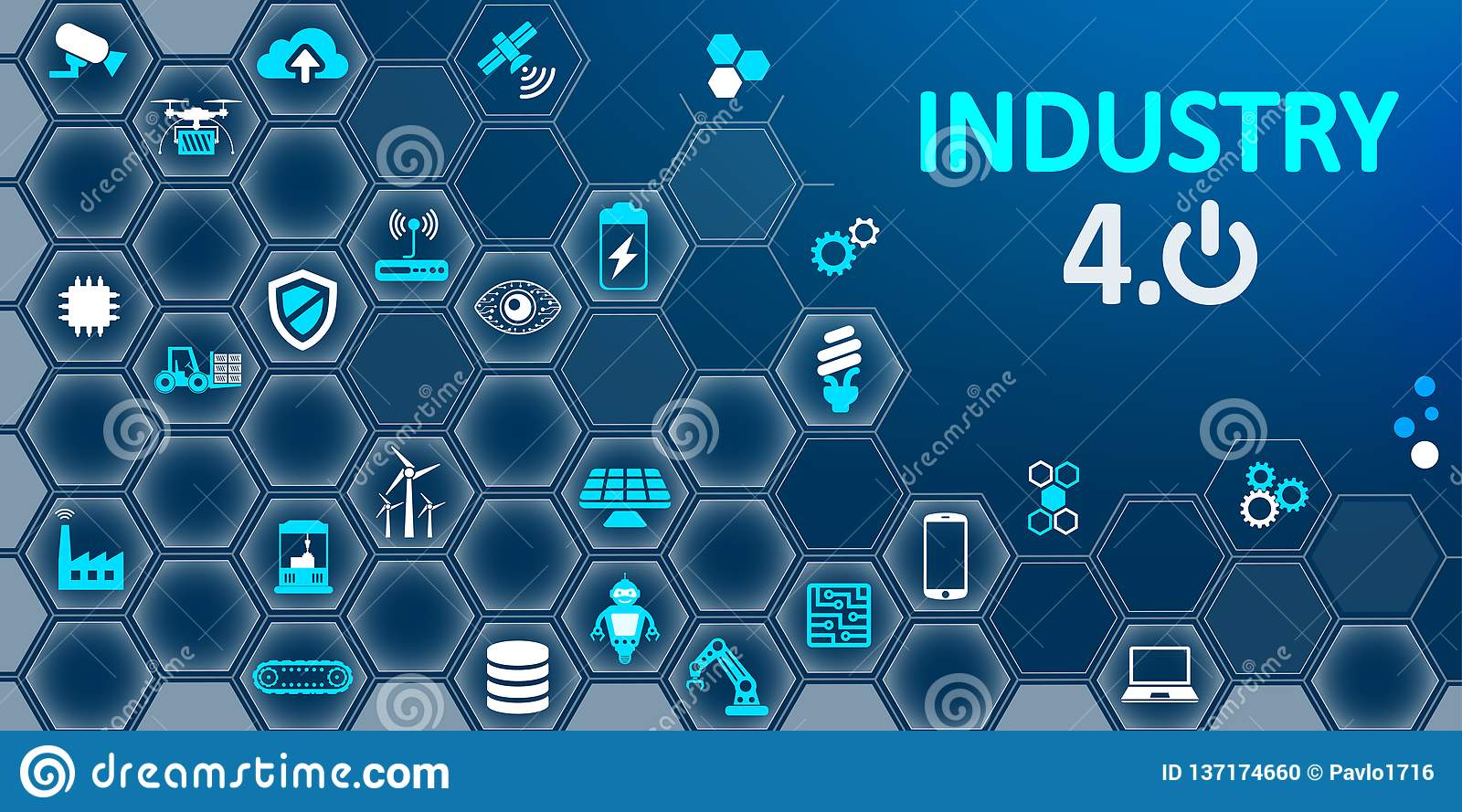 Industry 4.0 infographic factory of the future – for stock