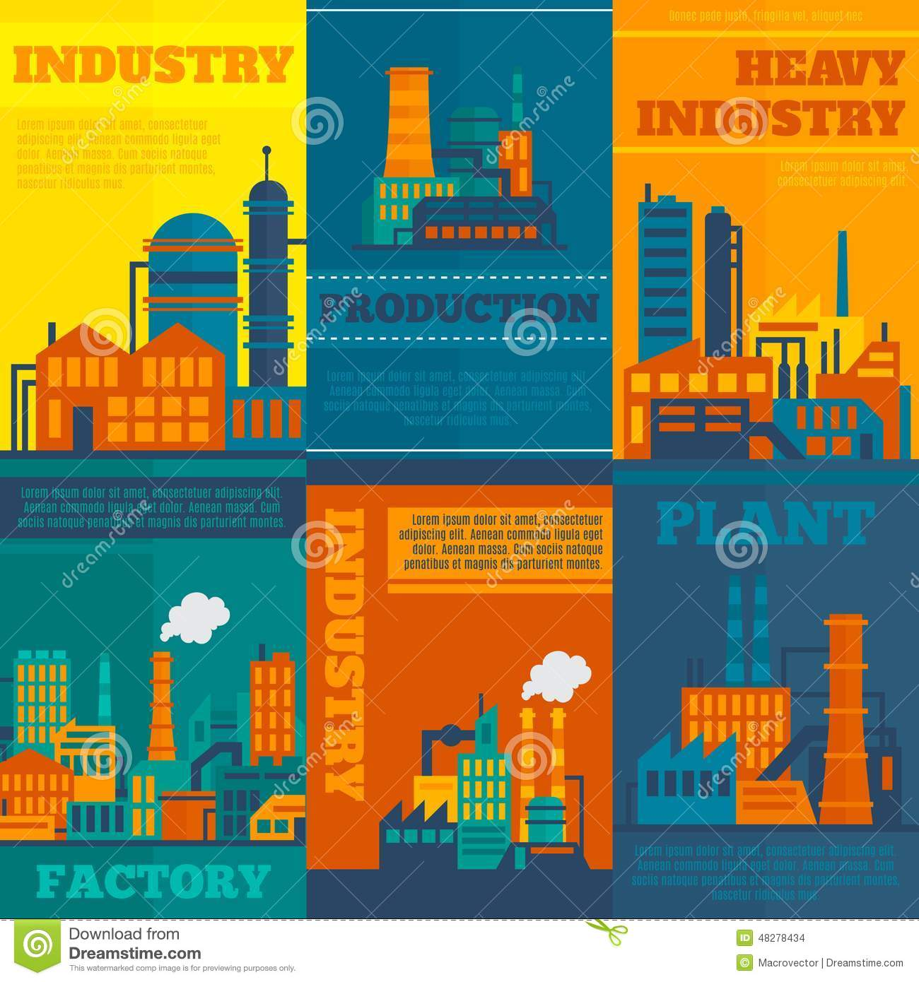 Industry Poster Set Stock Vector - Image: 48278434