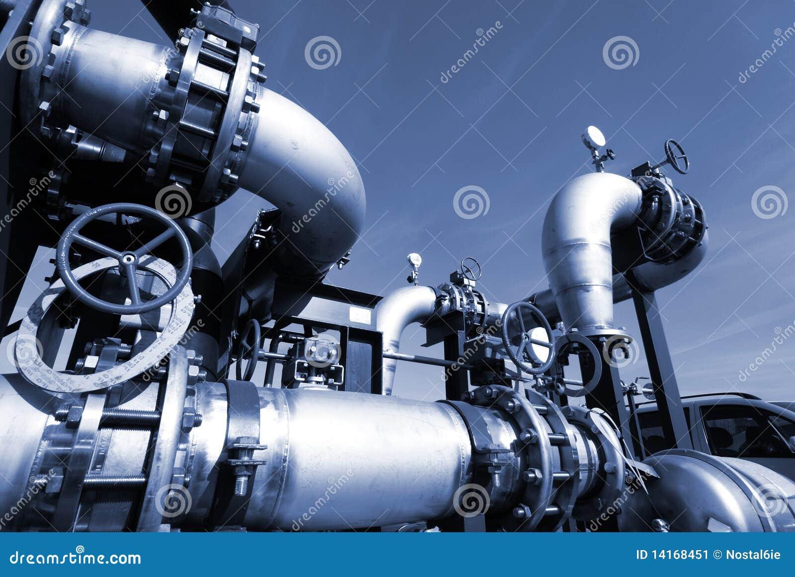 Industry Steel pipelines at factory