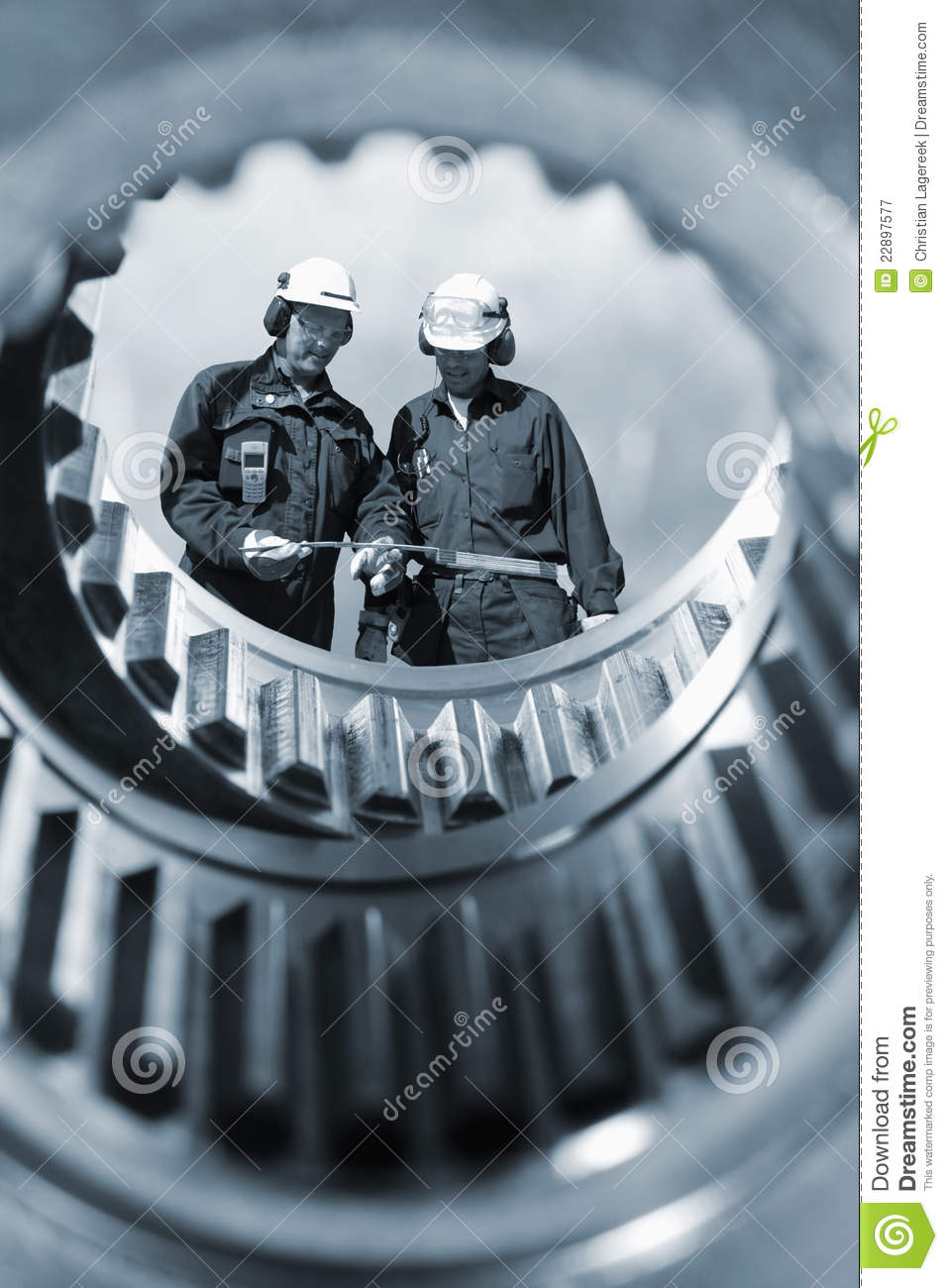 Industry workers and machinery