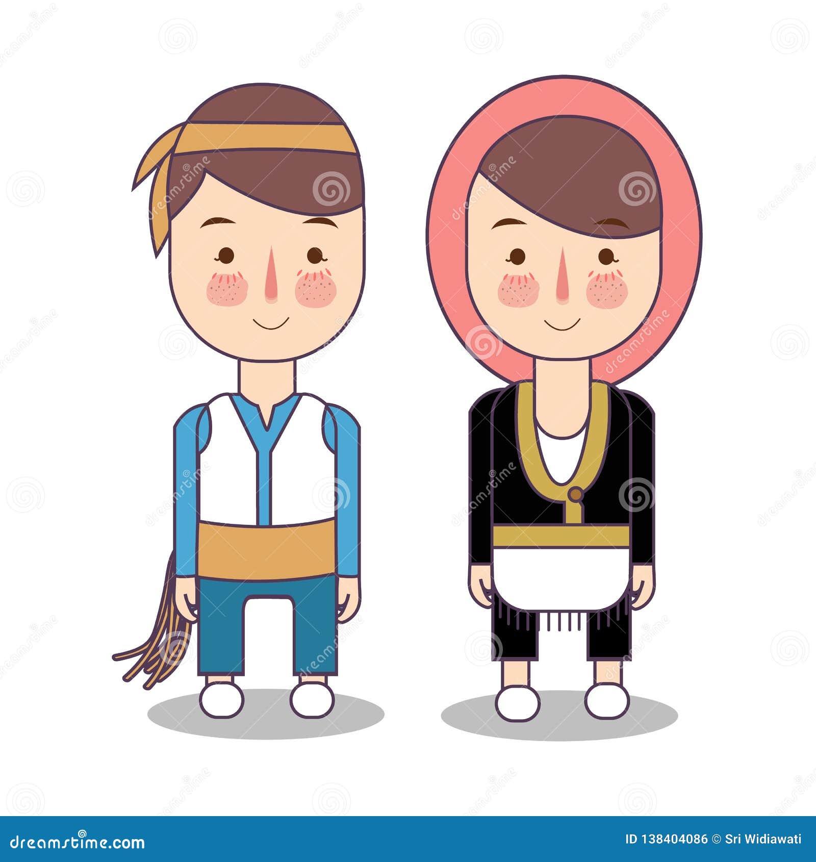 Indycza ślub para, śliczna Turecka tradycyjna odzieżowa kostiumowa państwo młodzi kreskówki wektoru ilustracja