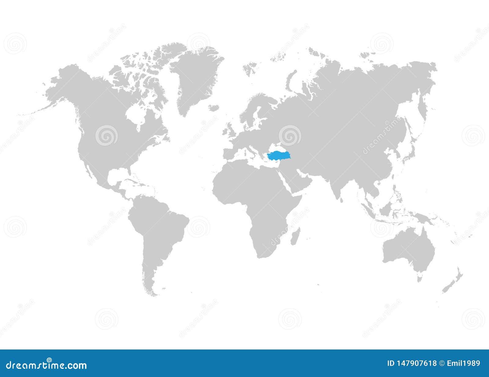 Indycza mapa podkreśla w błękicie na światowej mapie