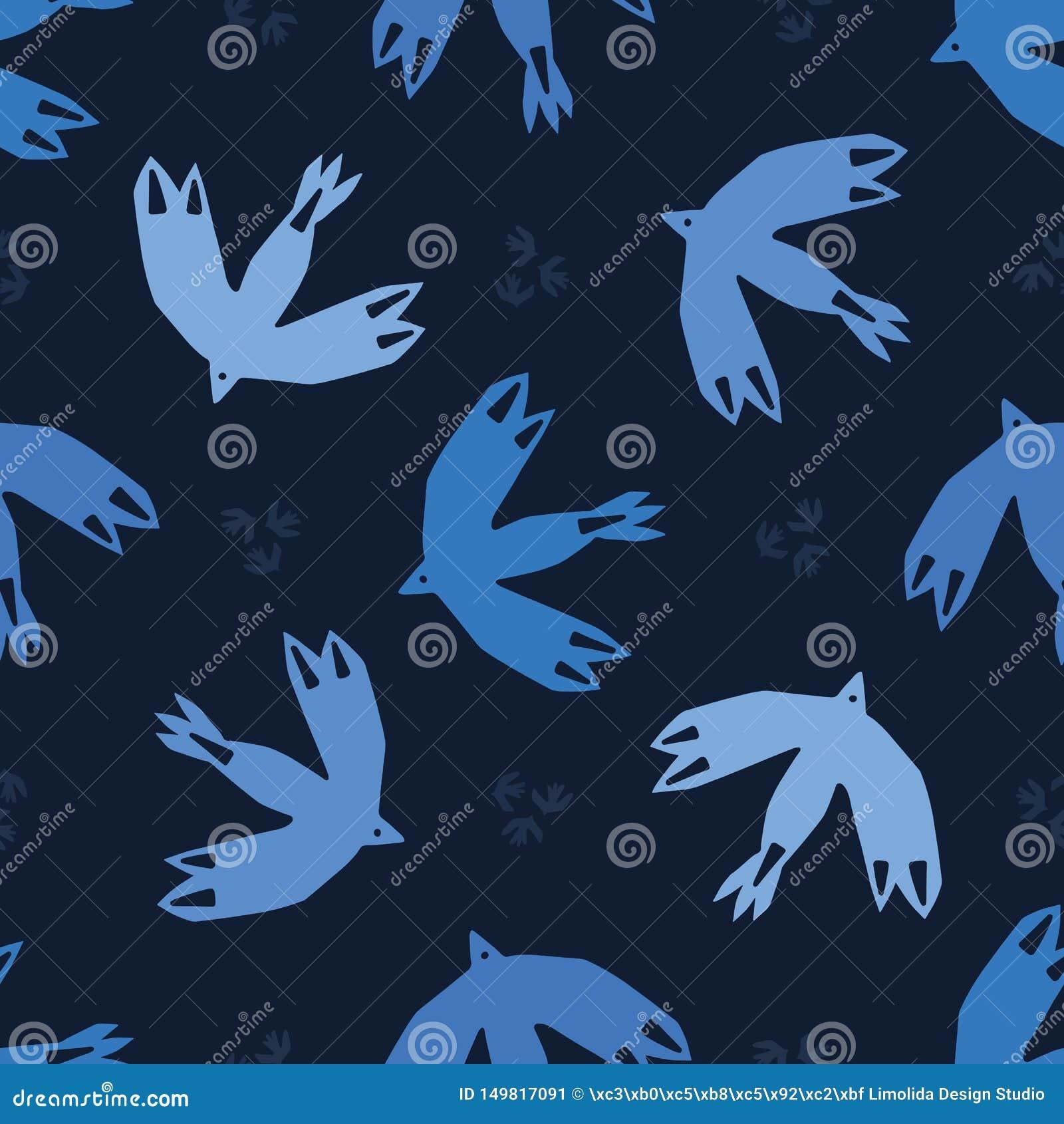 Indygowego błękita ptaków abstrakcjonistyczny latać ciie za kształtach Wektoru deseniowy bezszwowy t?o Ręka rysująca matisse styl
