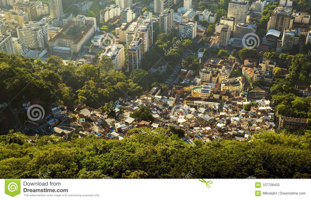 Inequality - contrast between poor and rich people in Rio