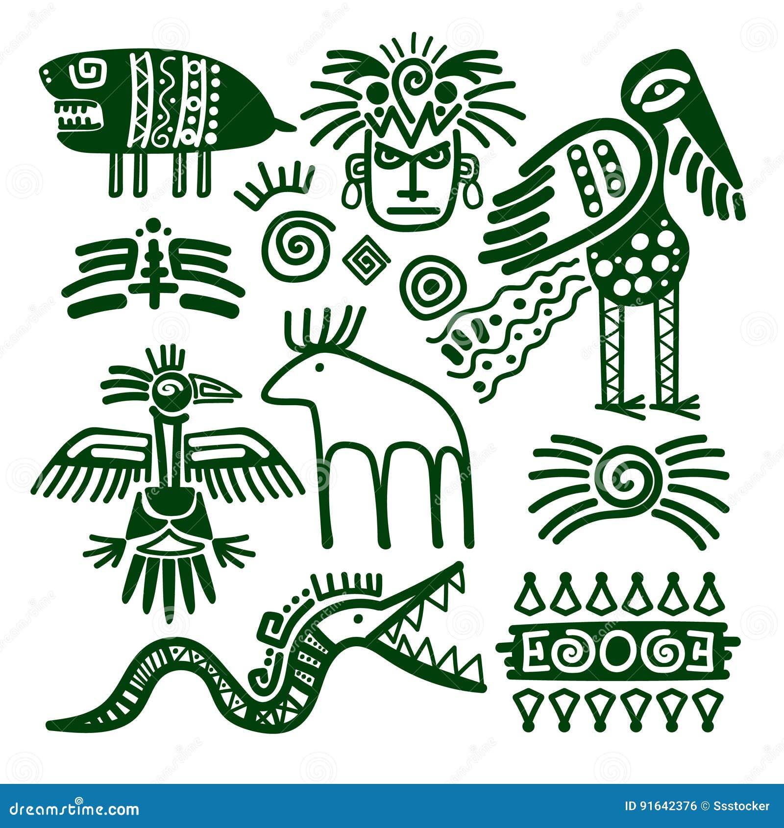 Infött stam- tecken för Aztec och för inca