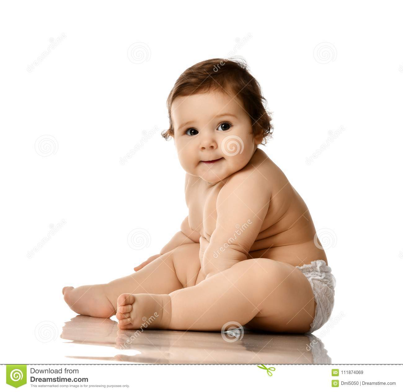 Infant baby girl toddler fat over weight sitting happy smiling