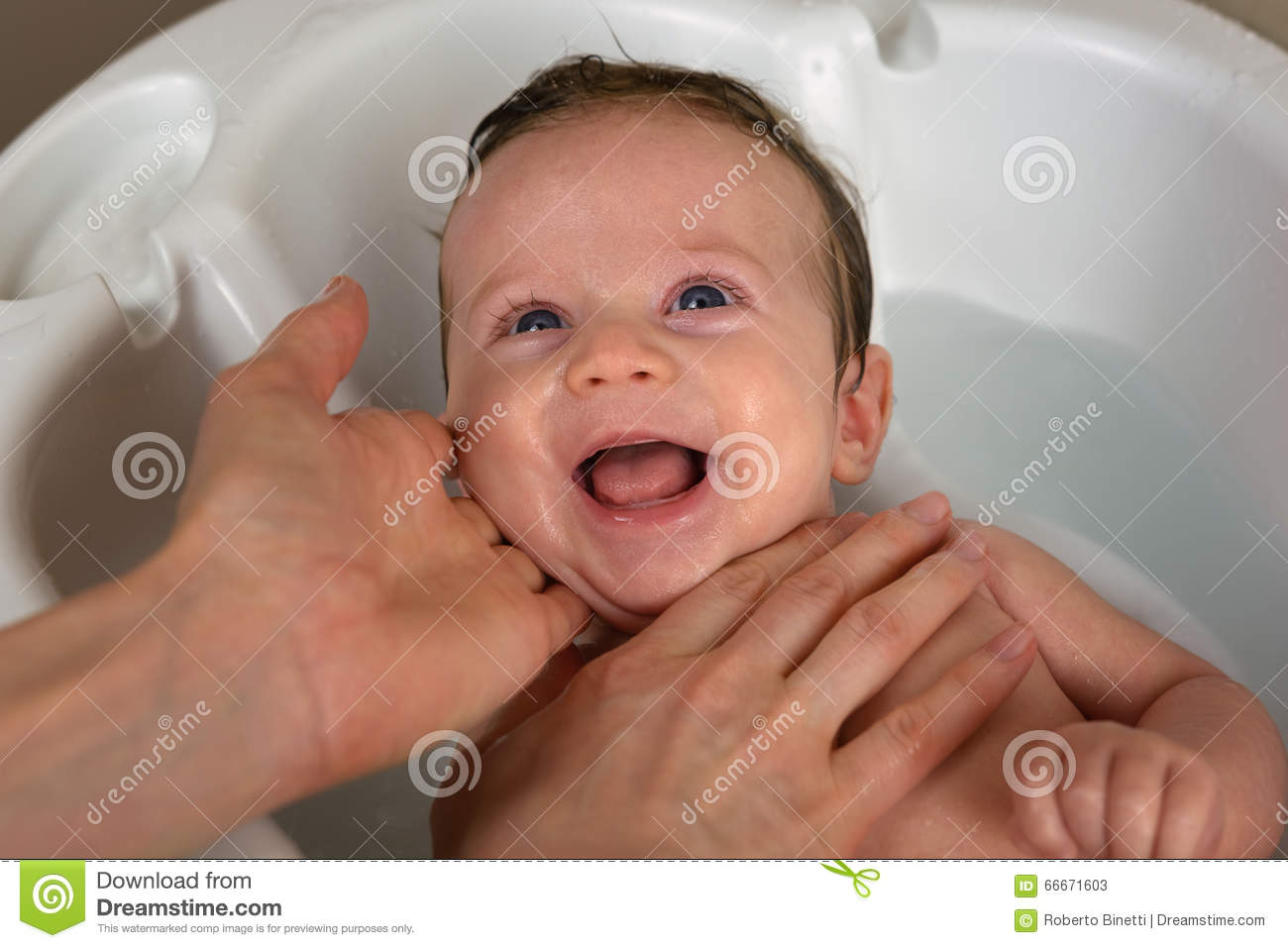 Infant in the bathroom stock image. Image of background - 66671603
