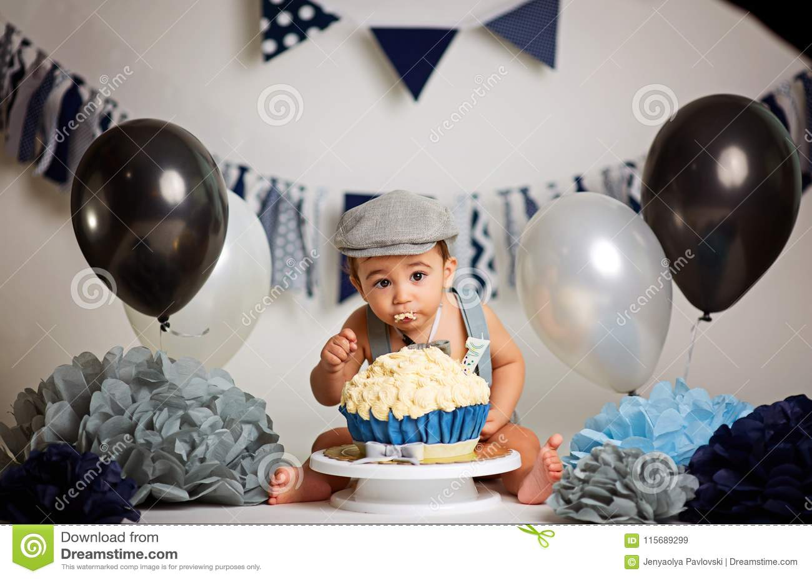 Infant Boys First Birthday Cake Smash Adorable Baby Smashing