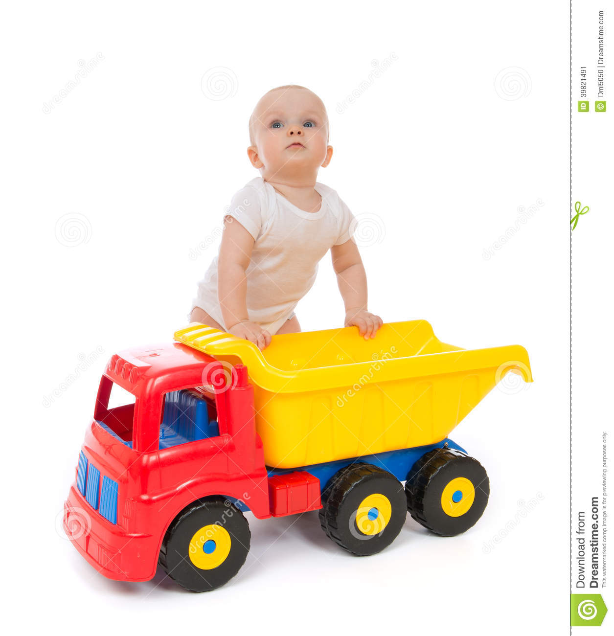 Large Toy Trucks For Boys : Infant child baby boy toddler with big toy car truck stock