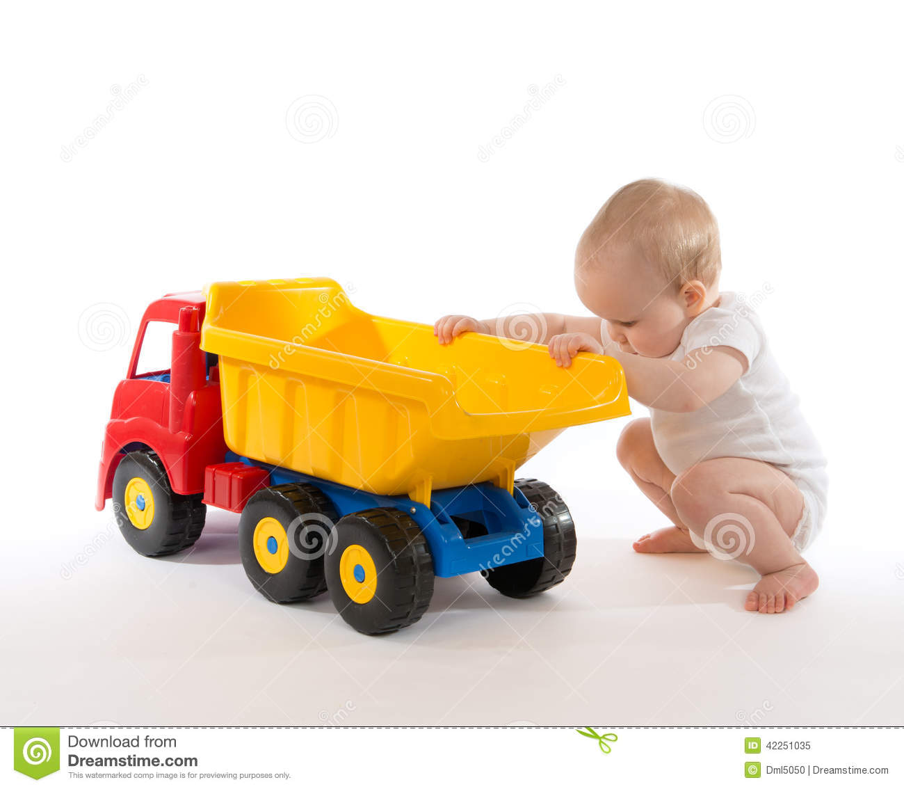 Infant Child Baby Boy Toddler Big Toy Car Truck Red Yellow Stock