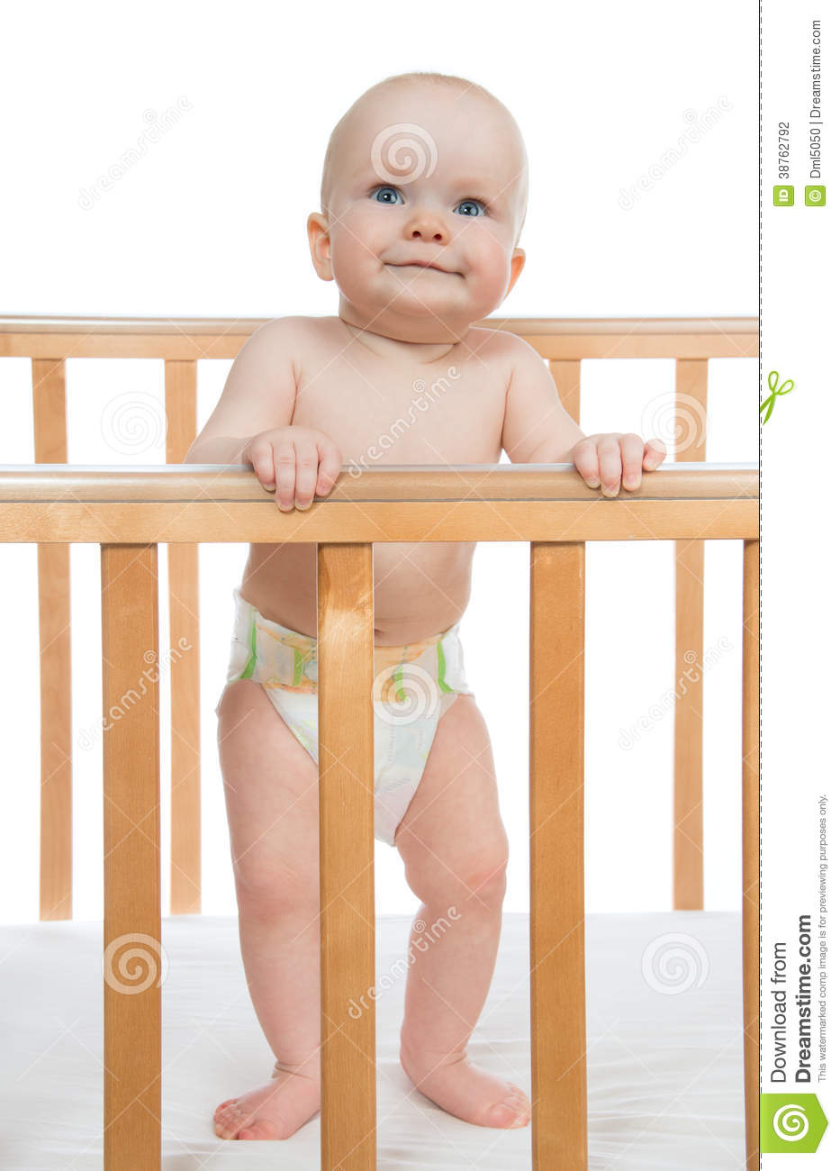 Infant Child Baby Boy Toddler In Wooden Bed Stock