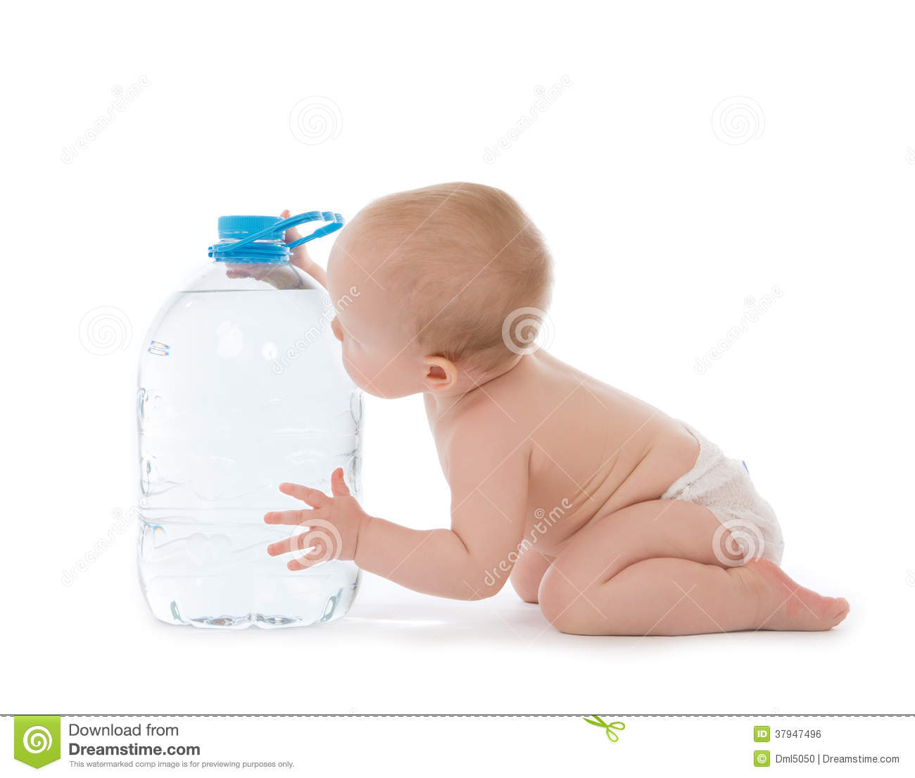 Infant Child Baby Girl Sitting With Big Bottle Of Drinking ...