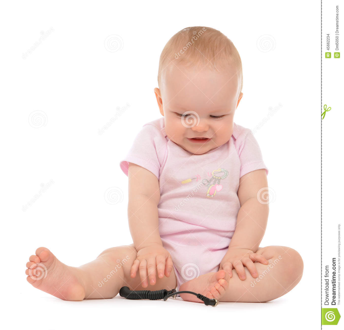 Infant Child Baby Toddler Sitting Laughing Looking Down ...