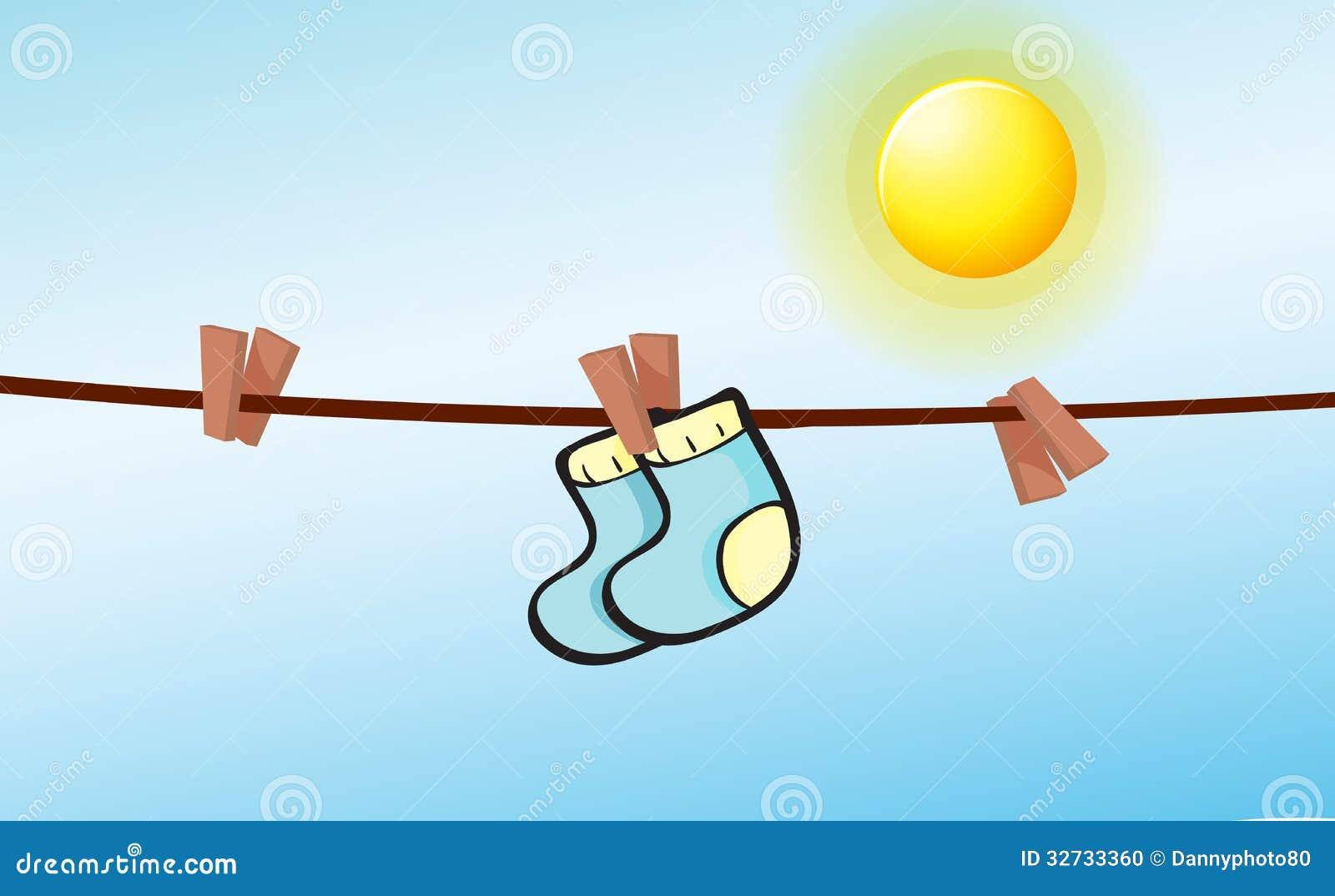 Clips Hanging Illustration