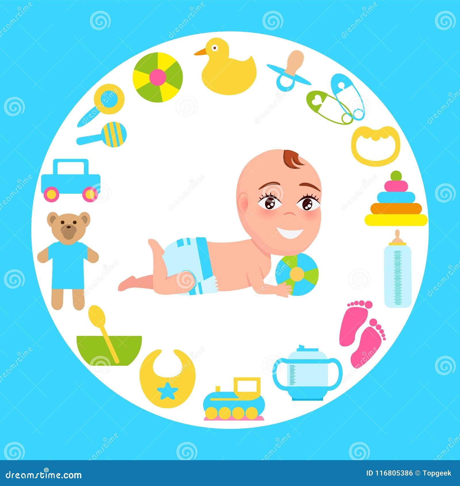Infante sorridente del bambino in pannolino che gioca la palla di colore