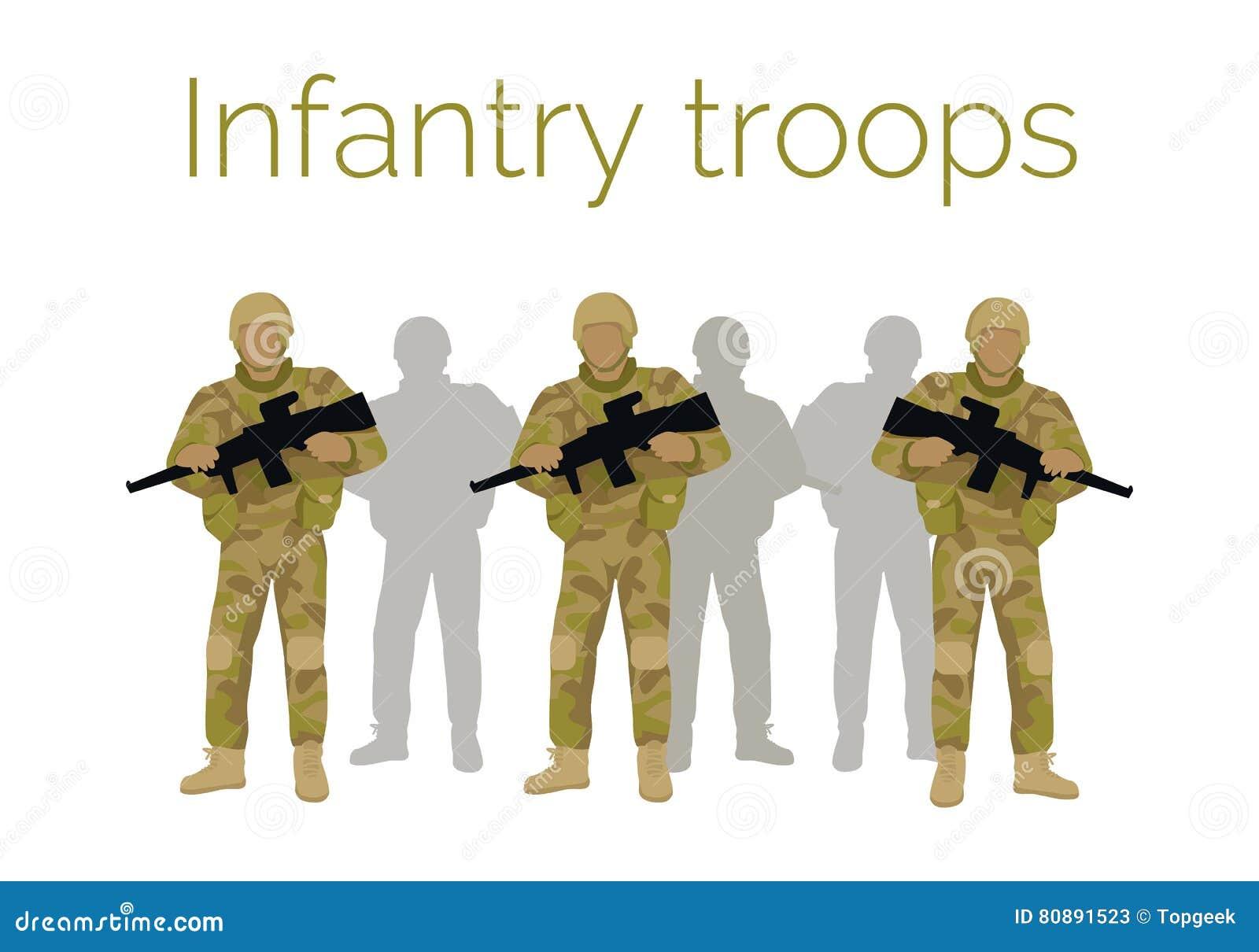Infanteri gå i skaror soldater med vapnet vektor