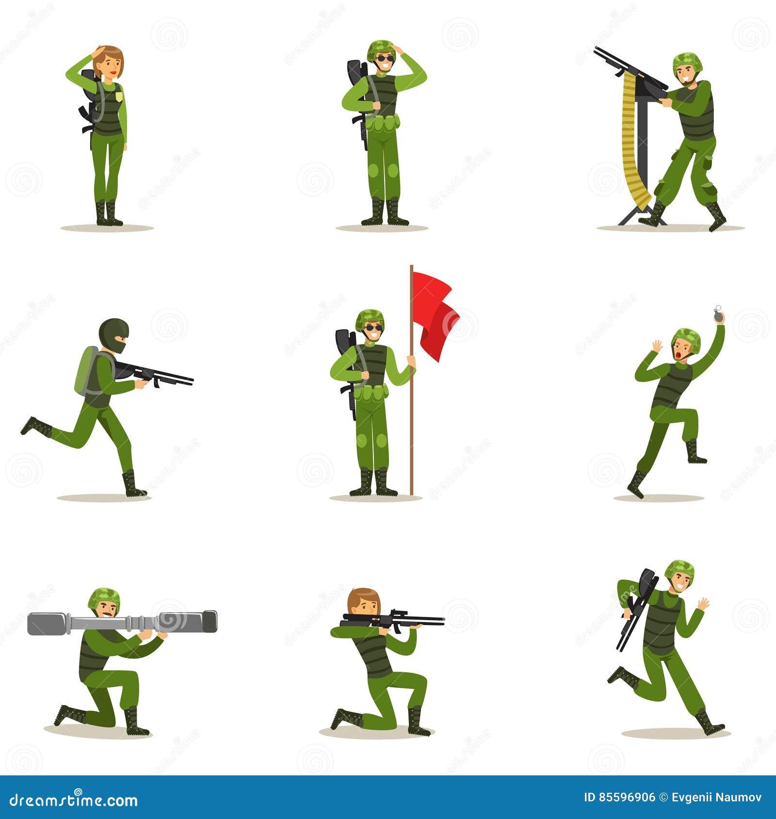 Infanteri tjäna som soldat den oavkortade militära kaki- likformign med vapen under krigoperationsamling av tecknad filmlandstyrk