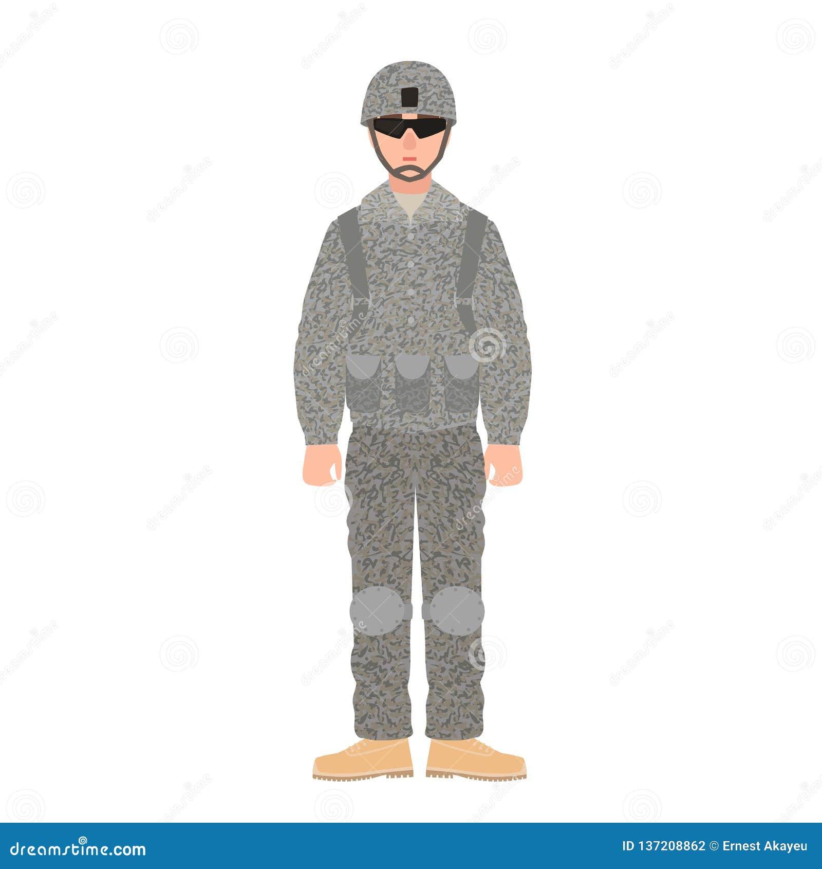 Infanterist av USA krigsmakt som bär den stridlikformign, hjälmen och exponeringsglas Soldat eller militär i fältuniform
