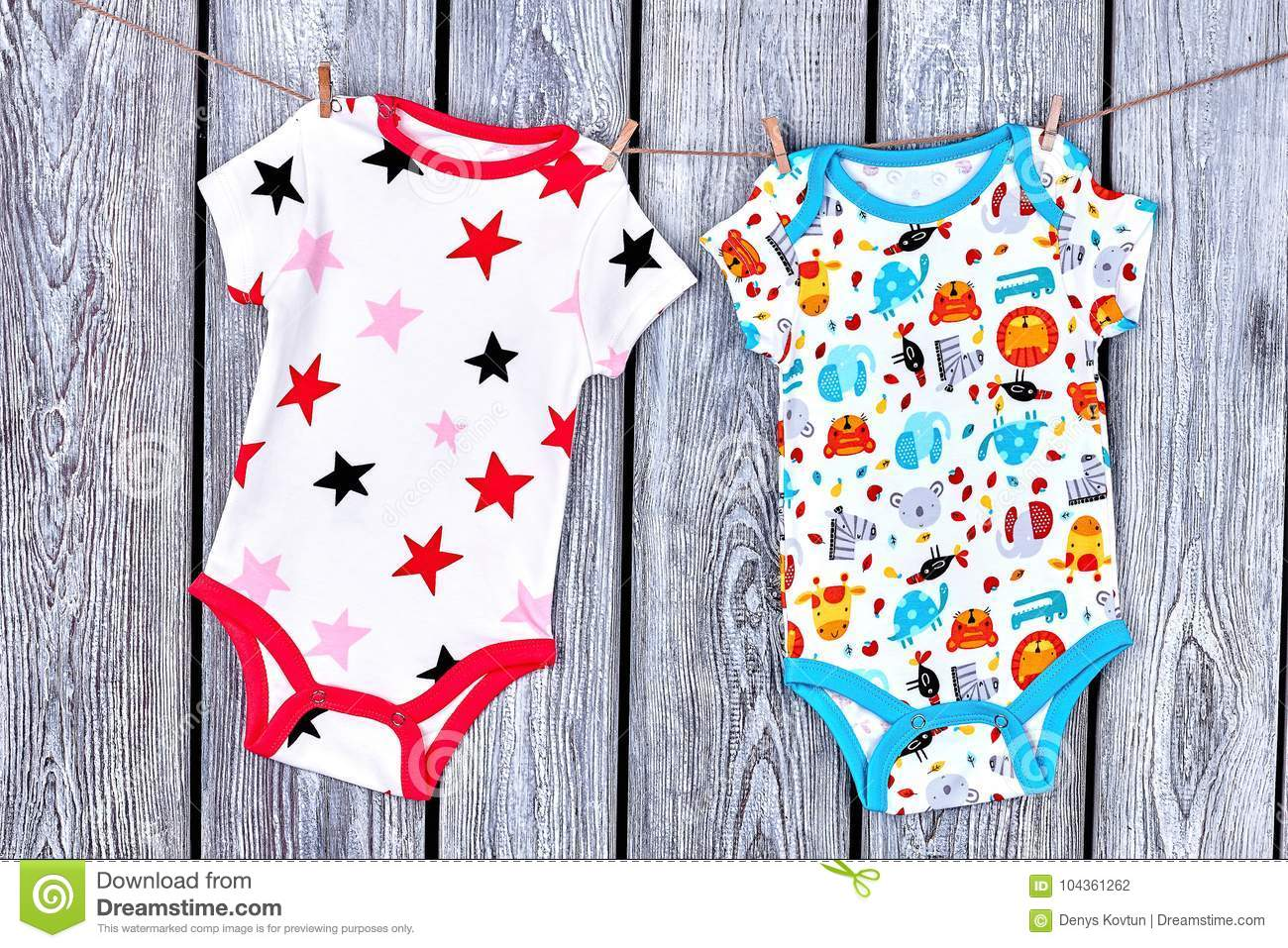 06f171e9f Infants Clean Apparel Hanging On Rope. Stock Photo - Image of ...