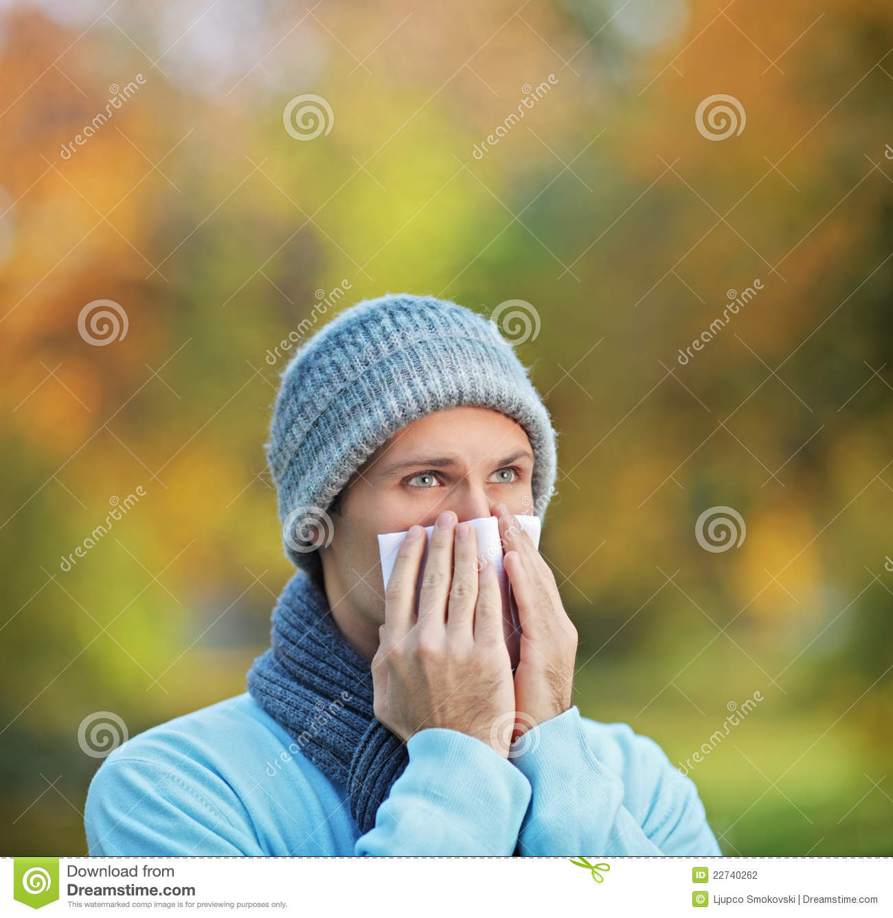 Infected Man Blowing His Nose In Tissue Paper Stock ...