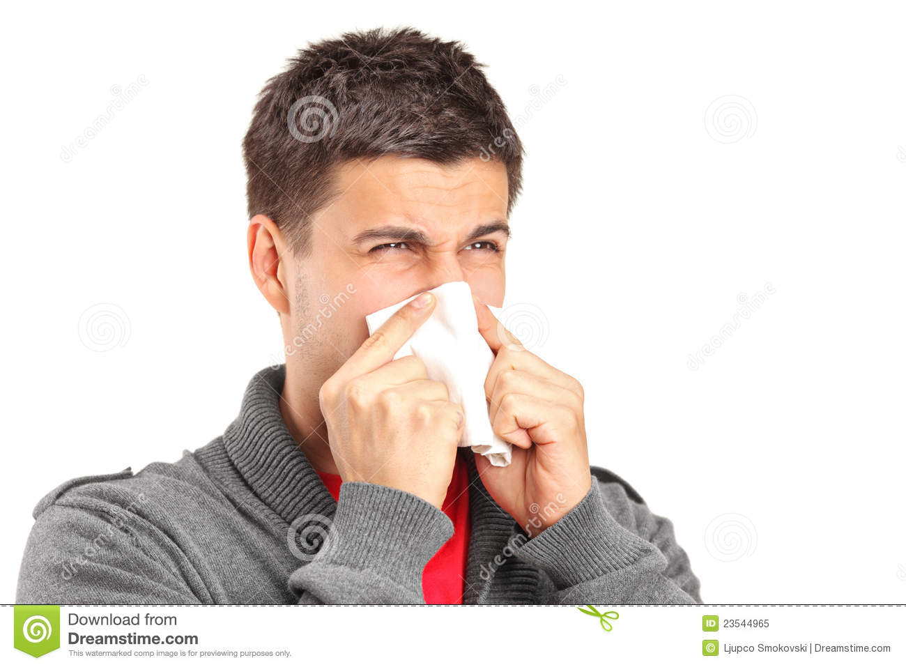 Infected Man Blowing His Nose In Tissue Paper Stock Image ...