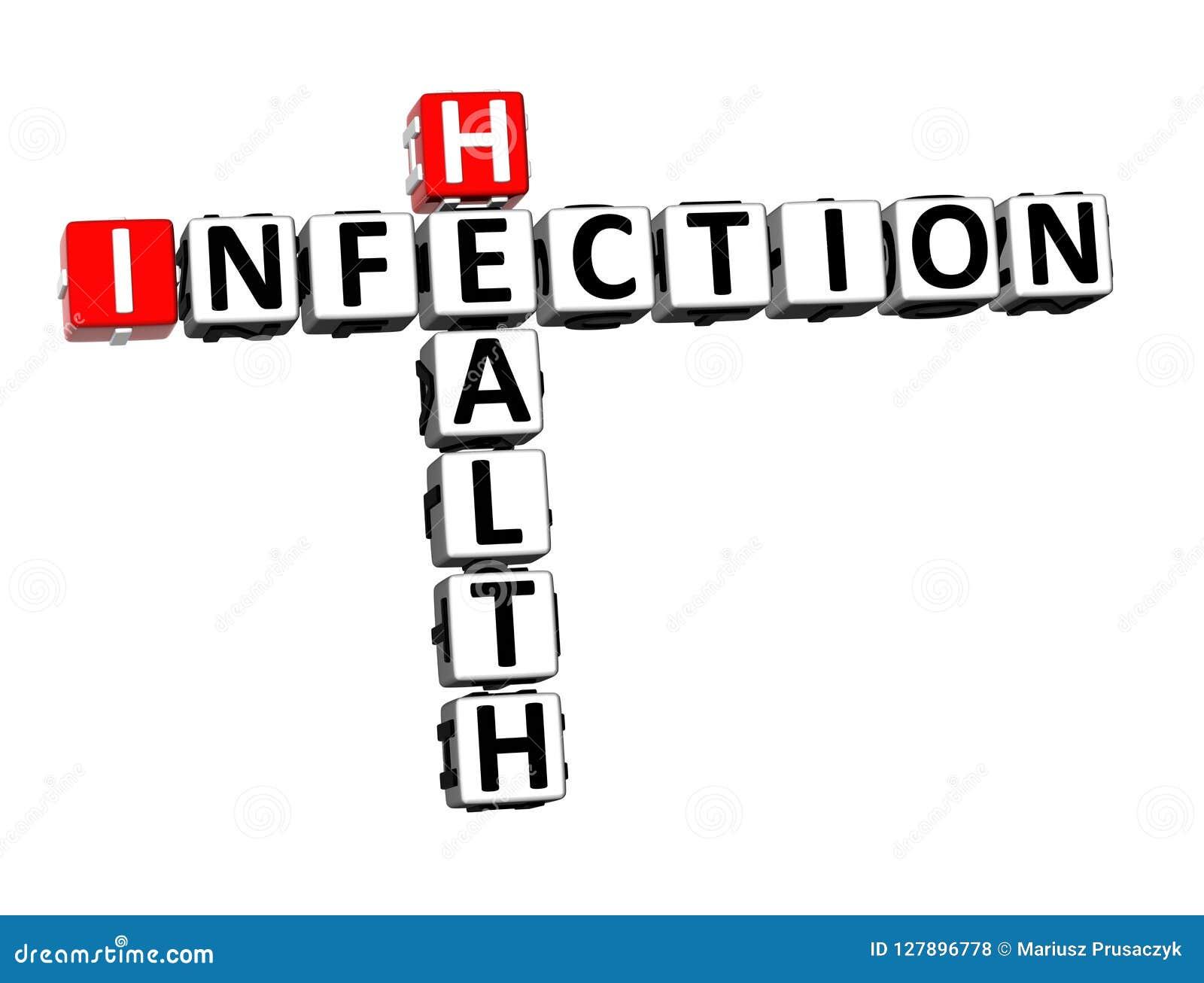 Infection Word de santé de mots croisé du rendu 3D au-dessus de Backgrou blanc