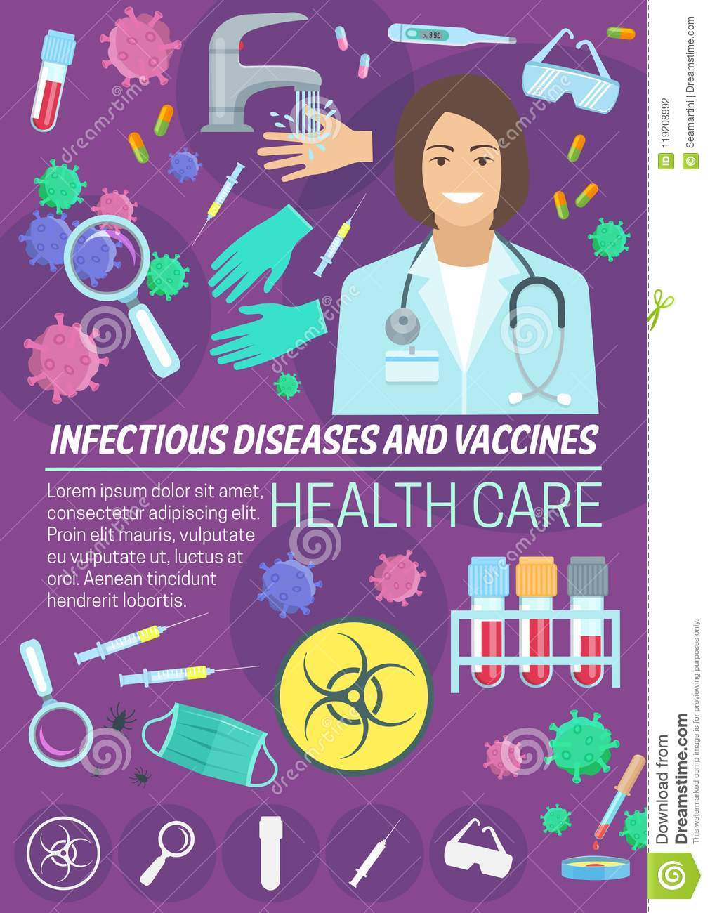 Infectious Disease Medicine And Vaccine Banner Stock Vector