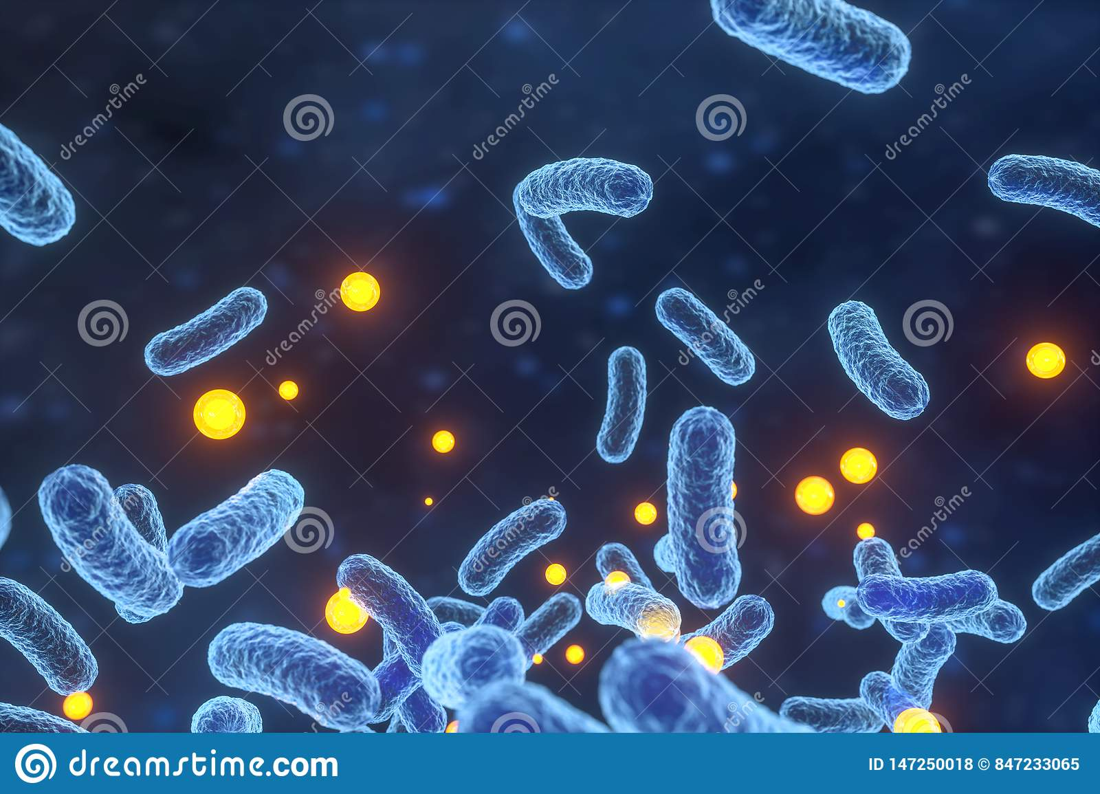 Infectious virus with surface details on blue background, 3d rendering