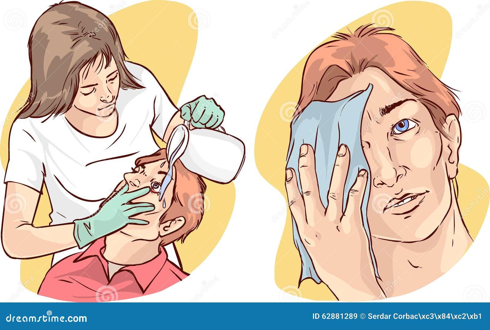 Infermiere che lava gli occhi del paziente con acqua