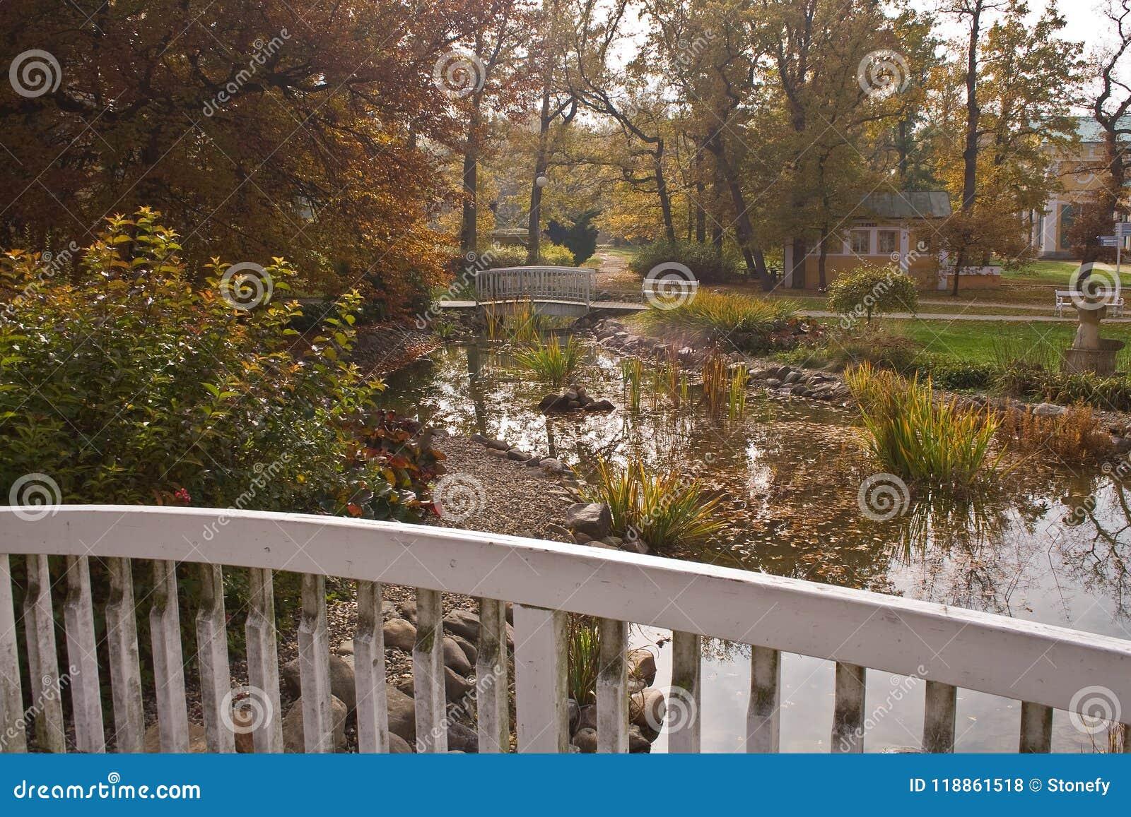 Inferriata di legno tramite il piccolo corso d acqua dell acqua