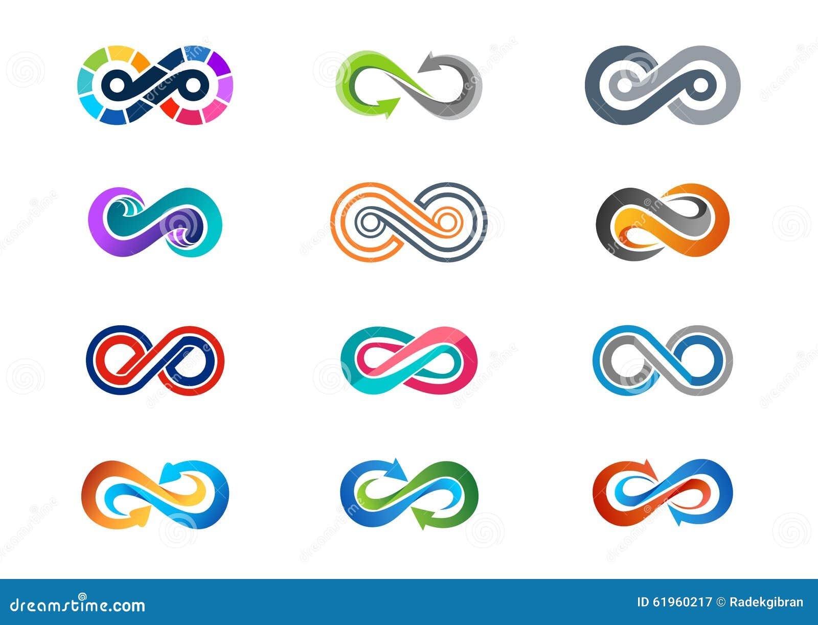 Infinidade, logotipo, grupo abstrato moderno da infinidade de vetor do projeto do ícone do símbolo do logotype