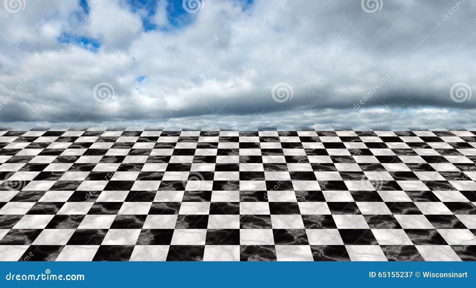 Infinite Checkerboard Floor, Clouds, Sky