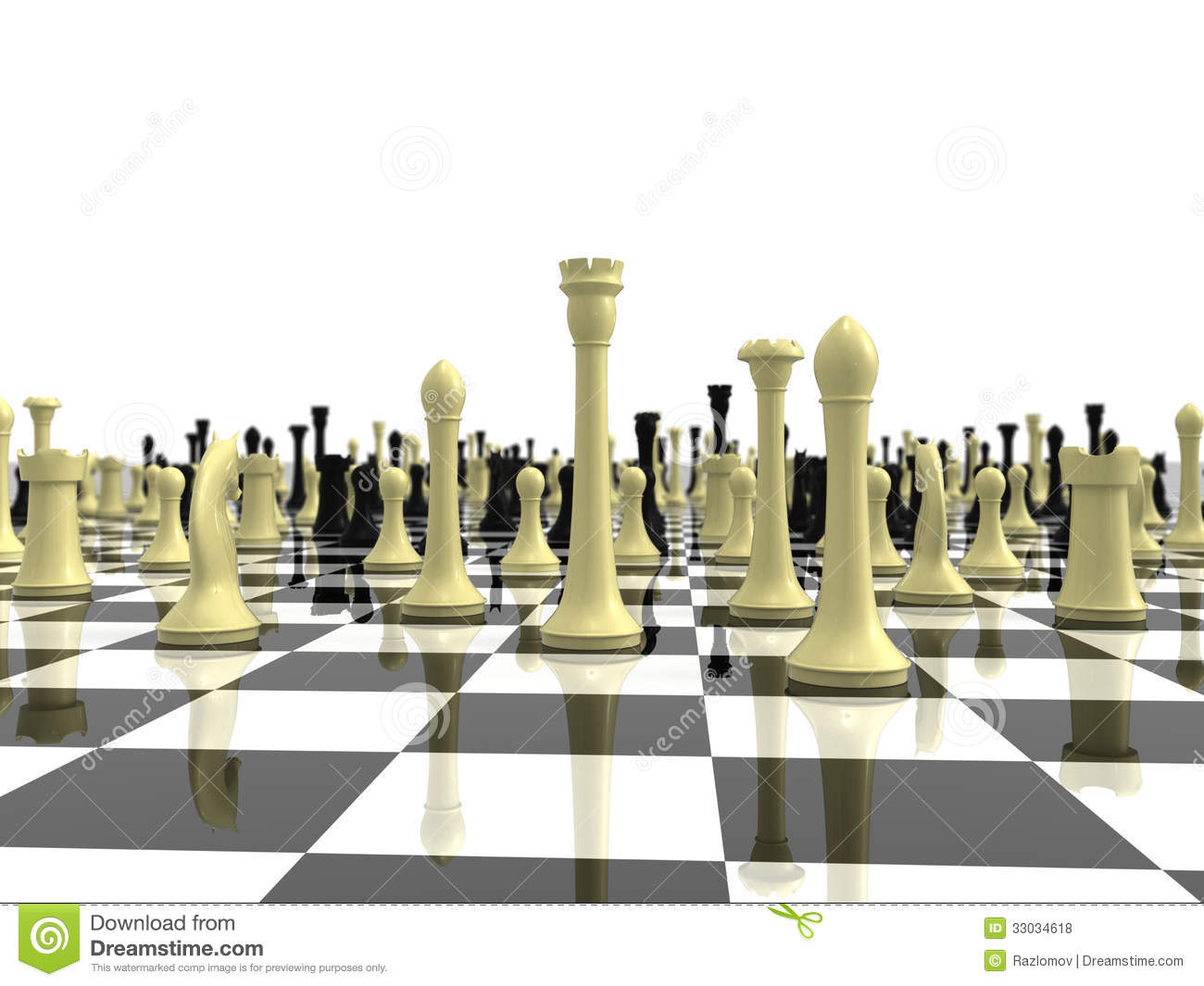 Infinite Chess Board With A Variety Of Chess Piece Stock