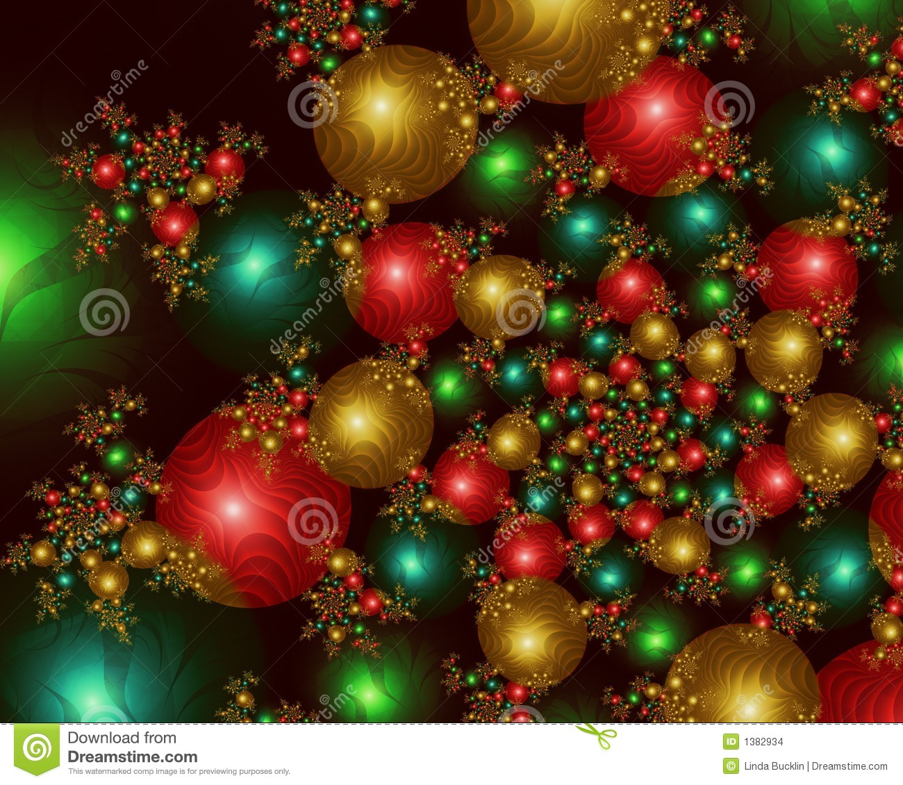 Infinite Christmas Balls Fractal Image Stock Images